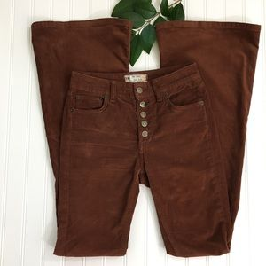 Free People Brown Button Fly Cords Size 24 x 33